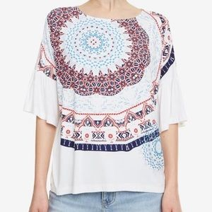 Desigual Liverpool Tee Top Blouse 19SWTK42 White
